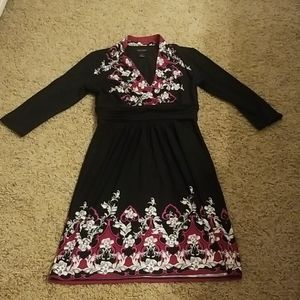 WHBM magenta and black dress S EUC